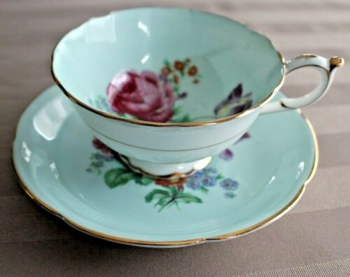 Paragon Large Pink Cabbage Rose Turquoise  Teacup & Saucer made in England