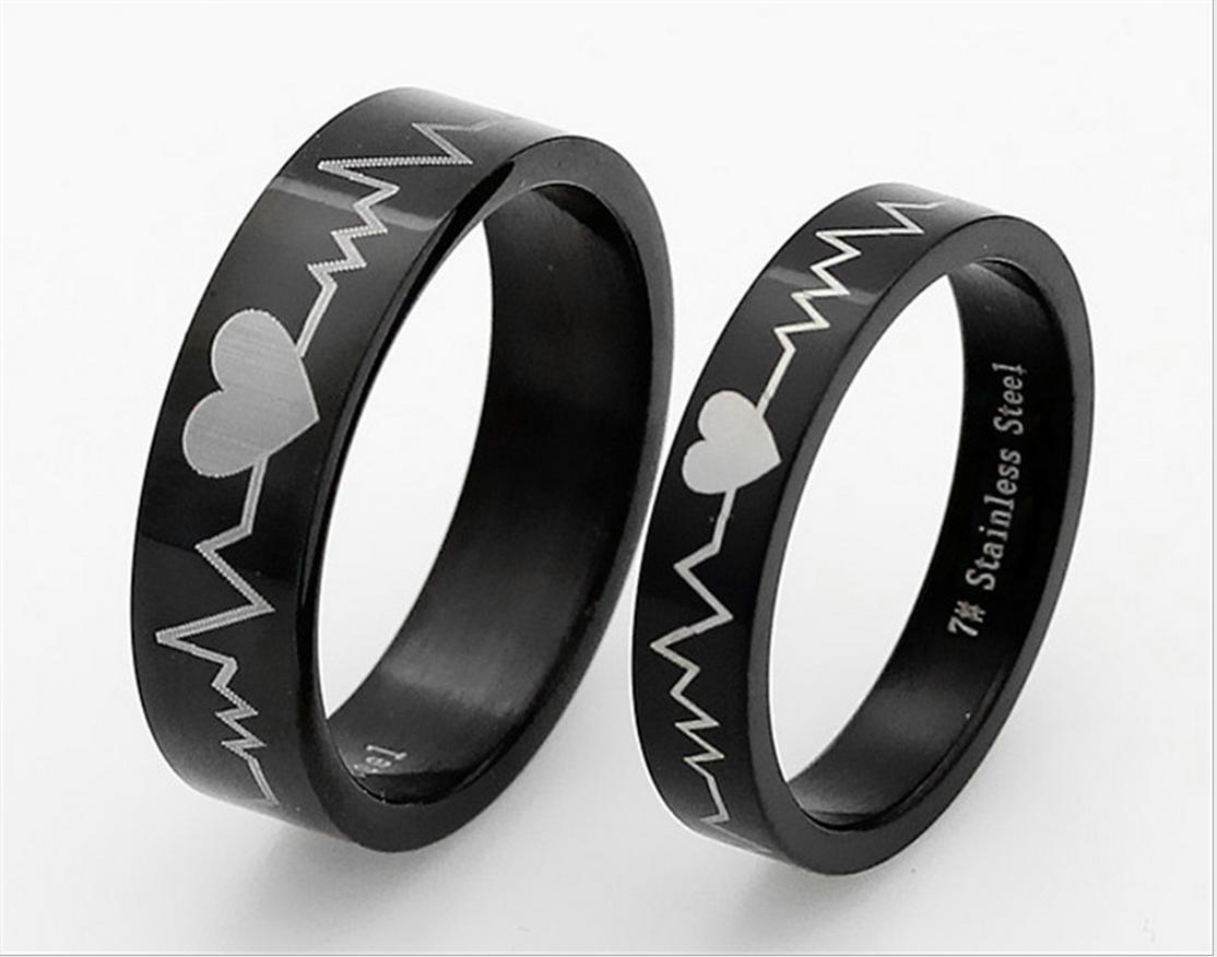 Couple Rings Stainless Steel Black ECG Pattern Promise weddi