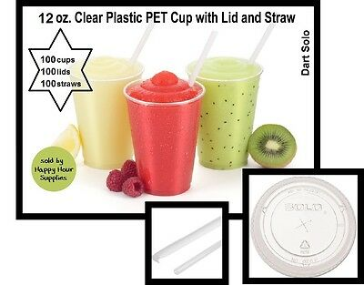 100 count 12 oz Clear PET Plastic Smoothie Cup with Lids, Straws INCLUDED