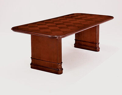 8 Foot Conference Table Cherry Wood Inlaid Table Top Carved Legs