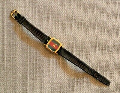Vintage GUCCI Square Green Red Stripe Ladies Gold Plated Quartz Watch Gucci Band