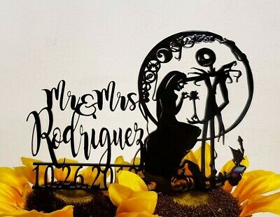 Jack And Sally Wedding (Jack and Sally cake topper, Nightmare cake topper, Simply Meant to be cake)