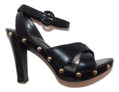 YSL Yves saint Laurent Studded High Wood Heel Clog Sandals size 38