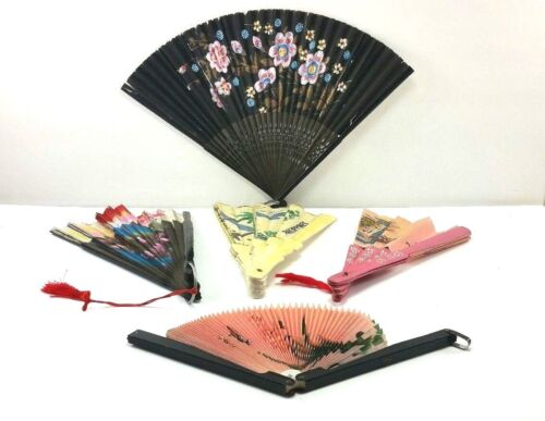 Oriental Asian Chinese Fans Paper Cloth Metal Wood Lot of 5
