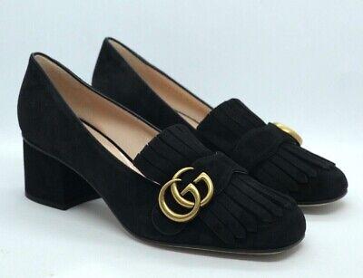 Gucci Marmont Fringe Block Heel Loafers Black UK 4 / 37