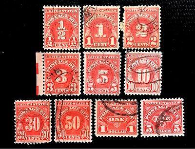 US 1930 Postage Due Stamps #J69-J78 Fresh Used CV:$15