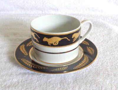 Vintage Lynn Chase Designs 1998 Jaguar Gold Cup & Saucer White/Black/Gold
