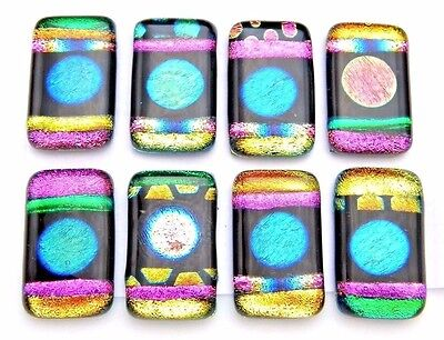 Lot 8 pcs RECTANGLE DICHROIC FUSED GLASS pendant (L15) CABOCHON HAND MADE