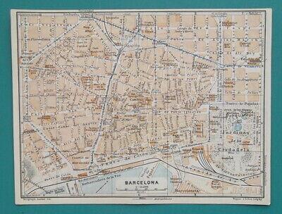 "1934 MAP 6 x 8"" (15 x 20 cm) - BARCELONA City Plan Spain & PALMA in Mallorca"