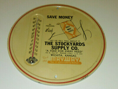 """VINTAGE TIN METAL """"THE STOCKYARDS SUPPLY CO"""" ADVERTISING THERMOMETER"""