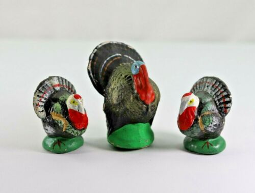 Three Vintage Turkey Thanksgiving Figures 1x Candy Container 2x Composition