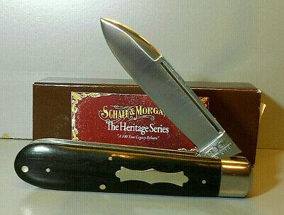 "Queen 2011 Schatt & Morgan ""Ebony English Jack"" Pocket Knife Heritage Series EXC"