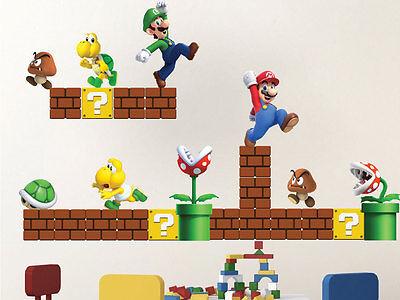 Super Mario Bros Wall Decals Nintendo Wallpaper Stickers Mario Game Room, n71 - Super Mario Brothers Wall Decals