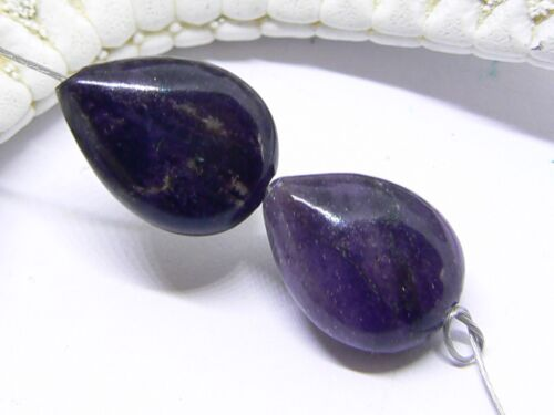 2 NATURAL UNTREATED AFRICAN PURPLE SUGILITE DROP BEADS STRAND 13mm 12.5ctw