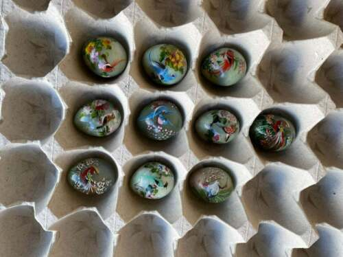 Vintage Asian Hand Painted Jade Eggs Lot of 10