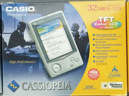 Casio cassiopeia Pocket PC 32MB E-125 with BOX, cradle, New Battery, Charger