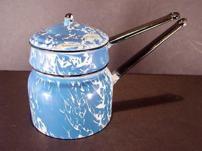 - ANTIQUE BLUE & WHITE SPATTERWARE ENAMELWARE LARGE DOUBLE BOILER