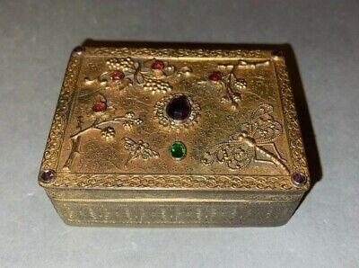 Antique E & JB Empire Art Gold Jeweled Wood Lined Cigarette Dresser Trinket Box