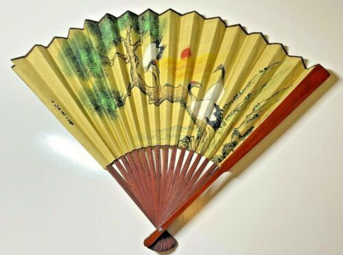 Vintage Hand Painted Artist Signed Chinese/Japanese Hand-Made Bamboo Fan