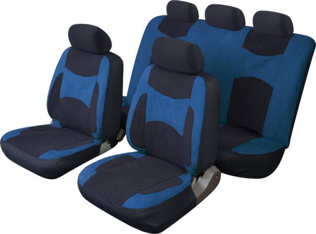 VAUXHALL CAVALIER Universal Suede Effect Fabric Car Seat Covers in BLACK & BLUE
