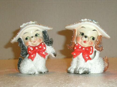 Vintage EMPRESS 2 Anthropomorphic Dog Figurines Hats Bows Flowers Sparkles