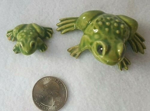 2 Vintage Green Ceramic Frog Figurines - Duncan Enterprises 1976