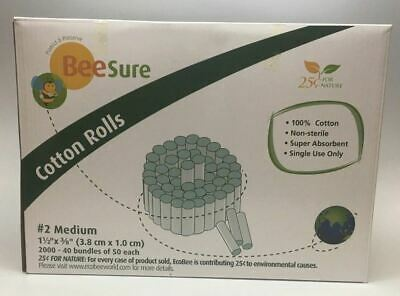 2000 X High Quality Dental Cotton Rolls 2 Medium Non-sterile Beesure Be1820