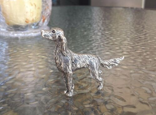 HOUSE PET 1 ENGLISH IRISH SETTER DOG THREE DIMENSIONAL PEWTER FIGURINE STATUE