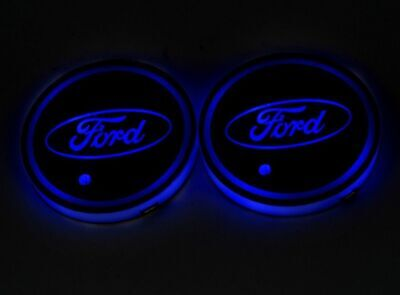 Colorful LED Car Cup Holder Pad Mat For FORD Auto Interior Atmosphere -