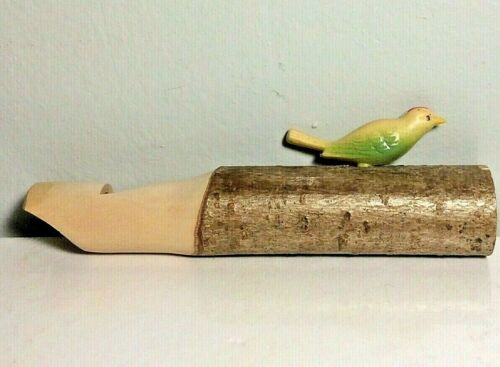 """Vintage Hand-Carved Wooden Whistle with Yellow and Green Bird -  5"""" Long"""