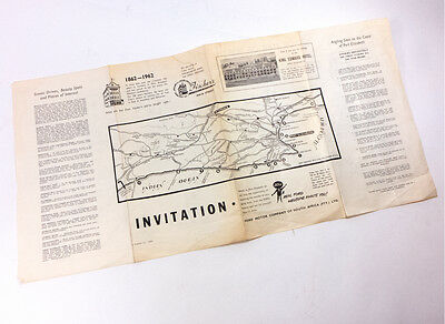 Antique Invitation Fischer's South Africa Port of Elizabeth Map 1862-1962