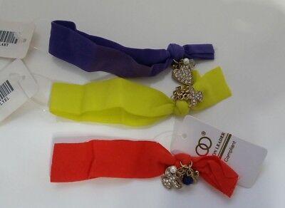LOT of 3 Stretch Cloth Elastic Ribbon Fabric Charm Hair Tie or Bracelet Z4-15/22