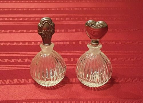 Vintage Matching Glass Perfume Bottles with Silver Plate Stoppers