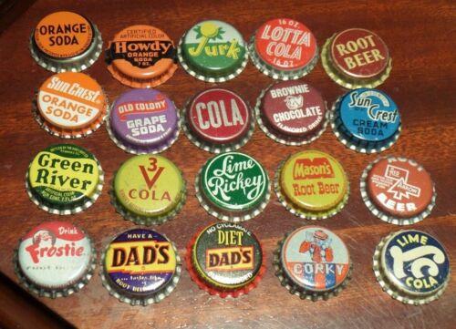 20 Vintage Soda Bottle Caps -- Cork Lined