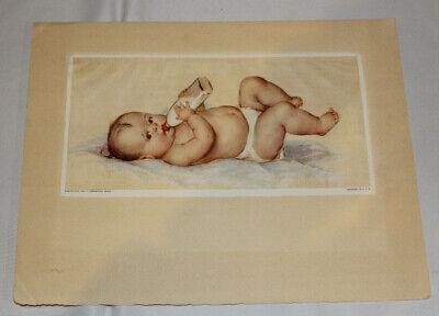 vtg 1931 Carnation Milk baby print w/ bottle, includes envelope & mailing label