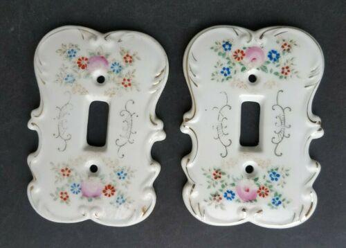 Vintage Ceramic Light Switch Cover Plate Floral Set of 2
