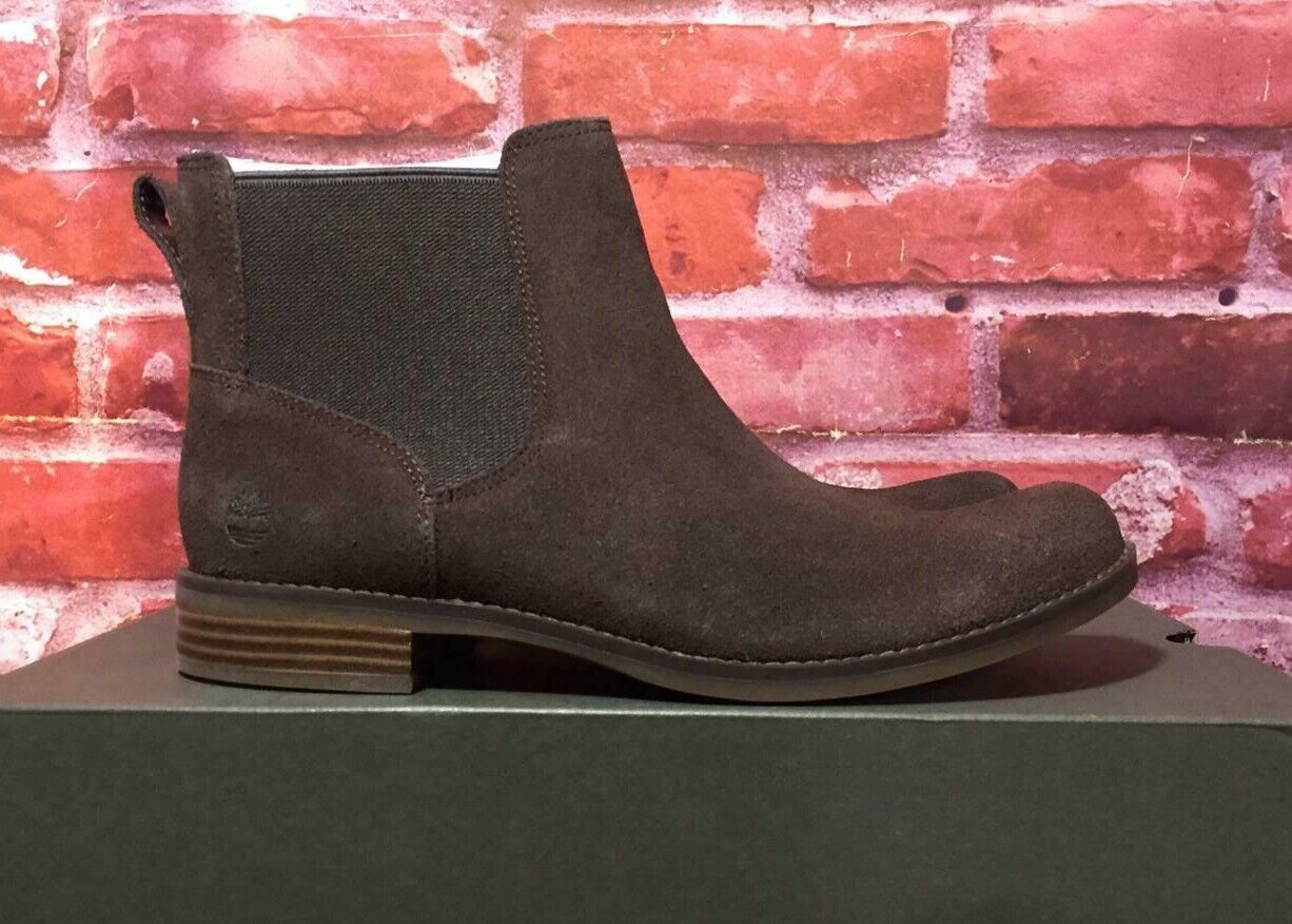 TIMBERLAND WOMEN'S MAGBY LOW CHELSEA BOOTS A1R2Y DARK BROWN SUEDE