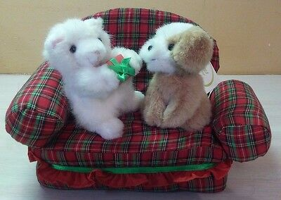 Kitty cat & puppy dog sitting on couch Kitty cat giving puppy dog gift NWT
