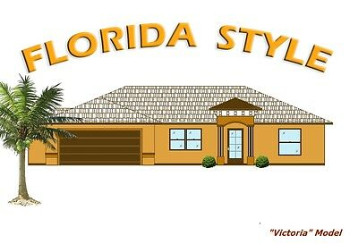 2,224 sq/ft Florida Custom Home Plan Blueprints COMPLETE SET in PDF NEW House
