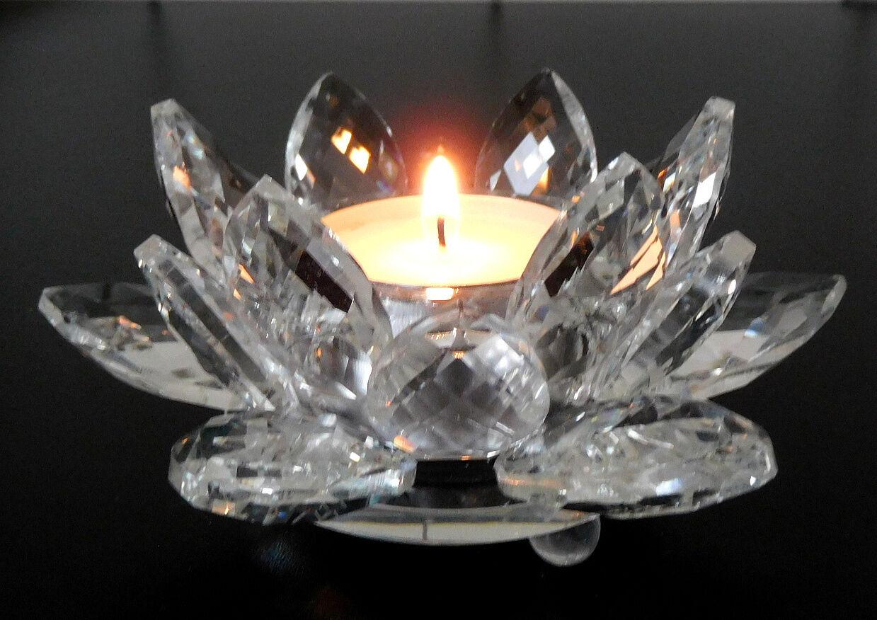 Teelichthalter Glas Seerose Kristallglas Facettenschliff Seerose Glas Qualität