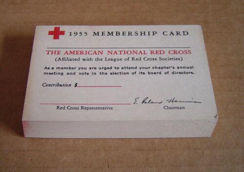 Vintage 1955 American National Red Cross Membership Card Whole Booklet 50 Unused
