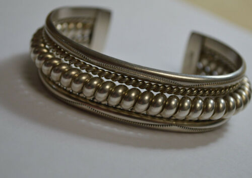 TAHE Navajo Coil Heavy Cuff Bracelet Sterling Silver Hand Crafted 58.0 gm Signed
