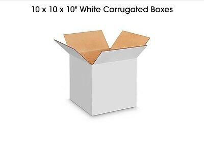 10 X 10 X 10 White Shipping Boxes 200lb Test - Fast Shipping