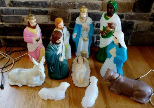 Vintage Empire Christmas Blow Mold 11 piece Nativity Set Wise Man, Donkey, Lamb
