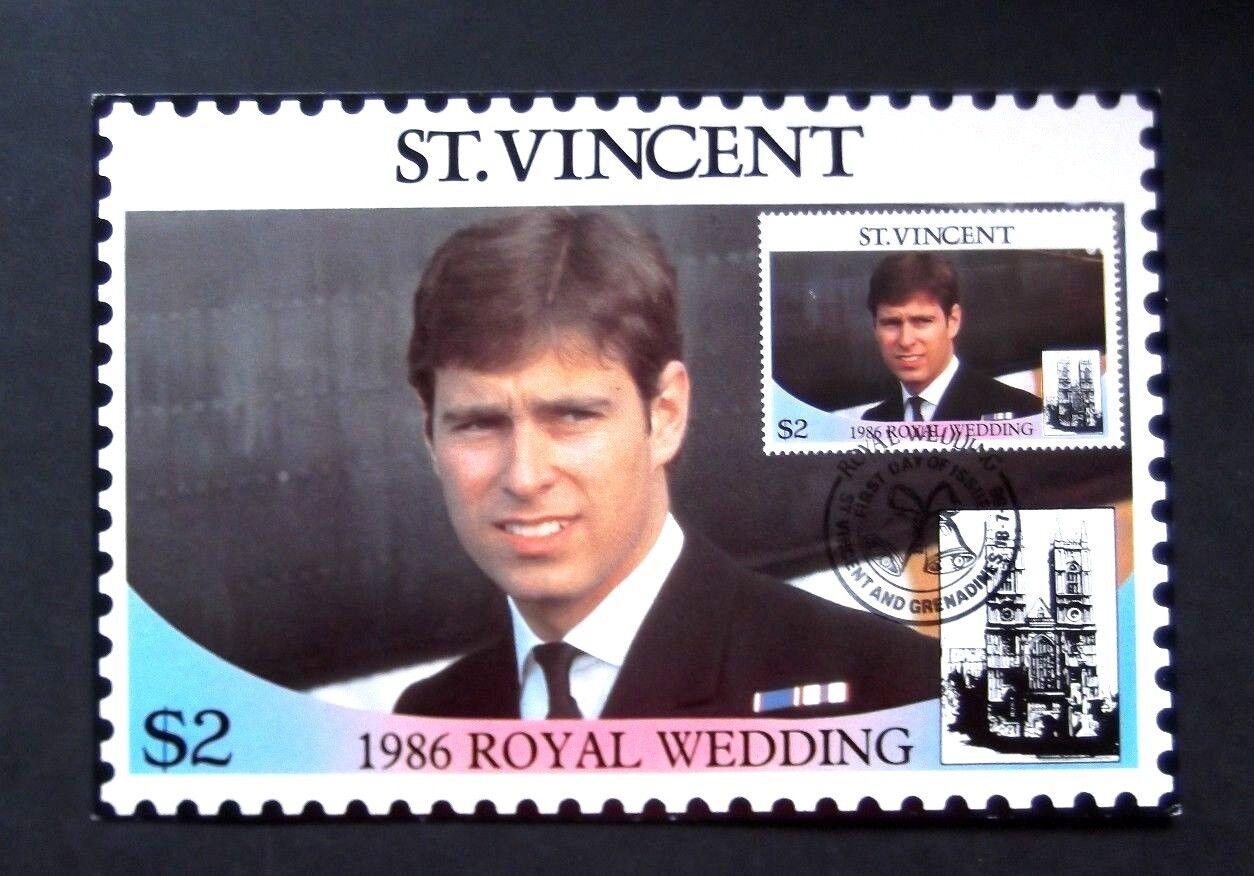 St Vincent-1986-2 X  Royal Wedding FDC Postbards