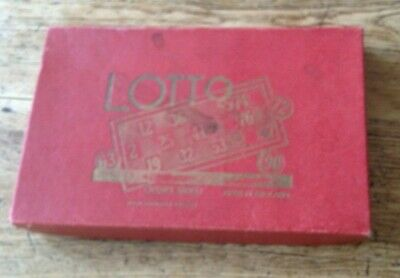 Vintage Spears Lotto game mid-century bingo lotto red with wooden counters