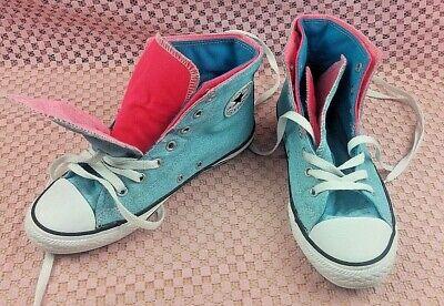 Converse Youth Größe 3 Eu 35) Doppel Zunge Mid Blau Rosa Schuhe #S117 ()