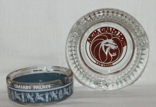 Lot of 2 Vintage Glass Las Vegas Ashtrays MGM Grand Lion Logo Caesars Palace