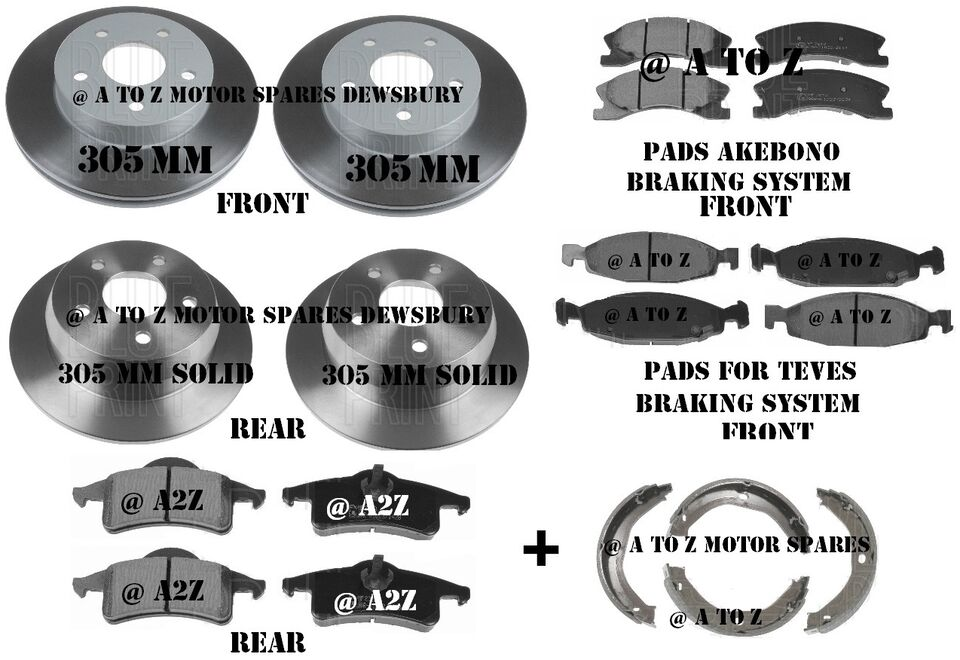 JEEP GRAND CHEROKEE 2.7 3.1 4.0 4.7 FRONT REAR BRAKE DISCS BRAKE PADS SHOES SET
