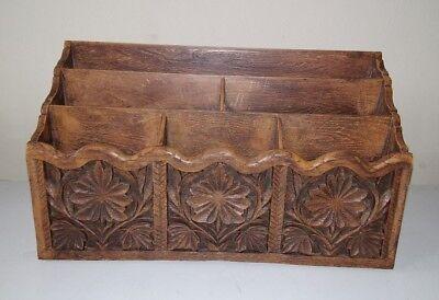 Vintage Lerner Desk Top Organizer Faux Carved Wood- Mail Bills Pens Holder